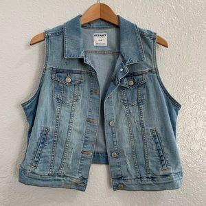 Old Navy Denim Vest Distressed Vintage Look Sz L
